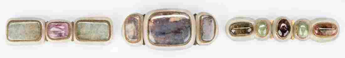 3 Chinese Jade, Stone & Gilt Bronze Belt Buckles