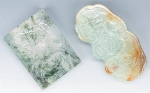 2 Chinese Carved Jade Belt Buckles w/ Bats