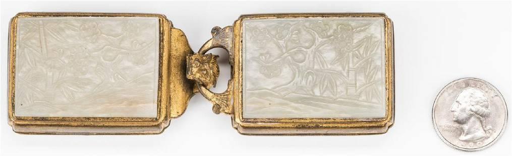 Chinese Carved Jade & Gilt Bronze Belt Ornament