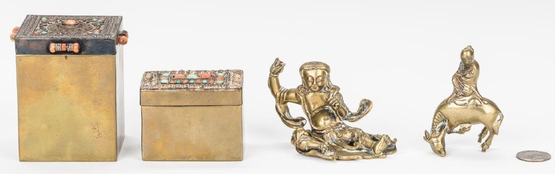 4 Asian Gilt Bronze Items: Boxes and Figures