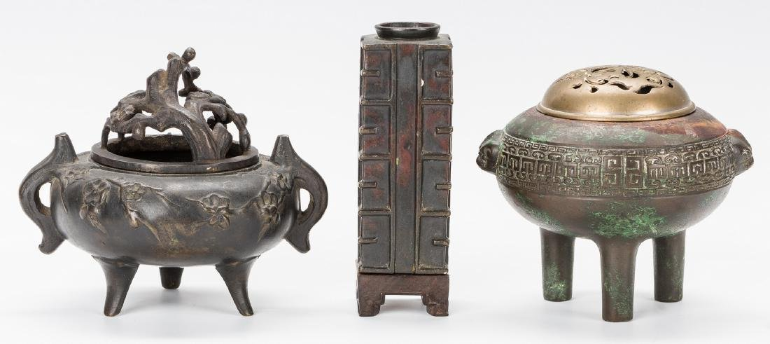 3 Chinese Bronze Items: 2 Censers and 1 Vase