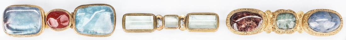 3 Chinese Crystal, Stone & Bronze Belt Buckles