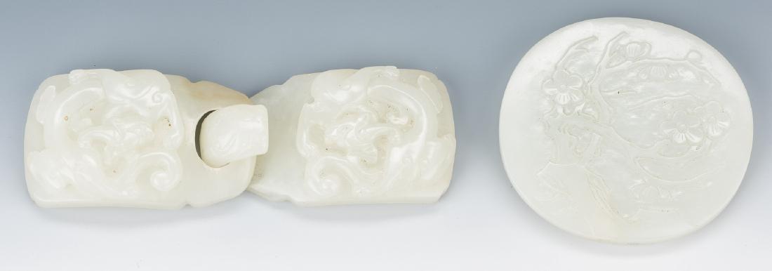 2 Chinese Celadon Jade Belt Buckles