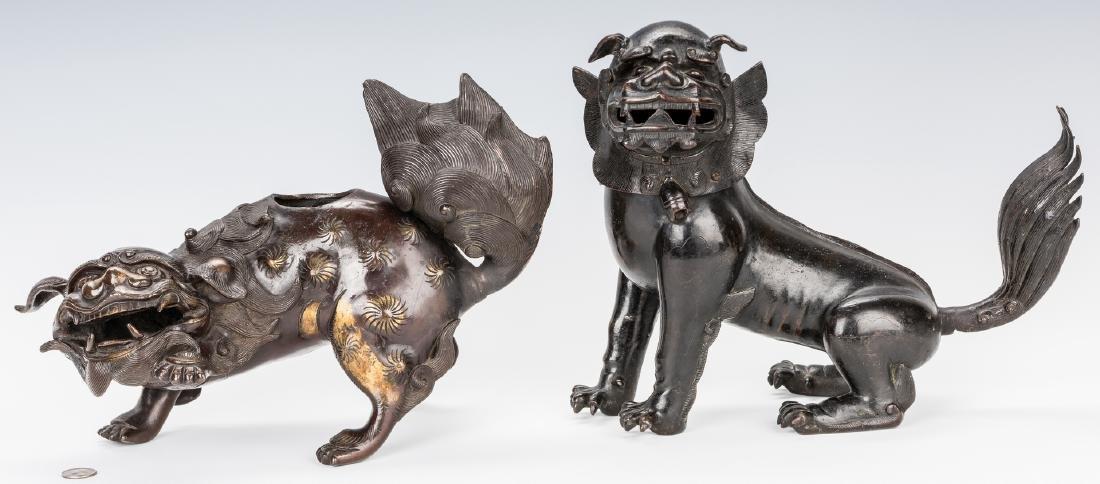 2 Asian Bronze Foo Dogs