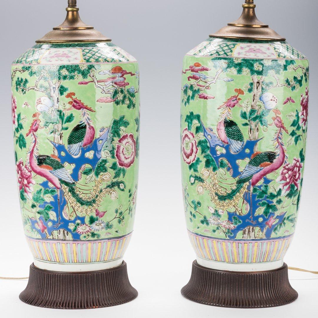 Pr. Chinese Porcelain Famille Verte Vases Mounted as
