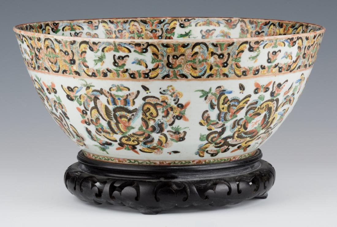 Chinese Export 1000 Butterflies Punch Bowl