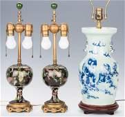 Pr. Chinese Cloisonne Lamps; Blue/White Porcelain Lamp,
