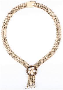 14K Gold Necklace Pearl Sapphire Drop