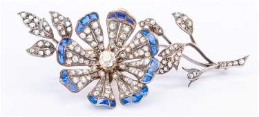 Belle Epoque Diamond Flower Brooch