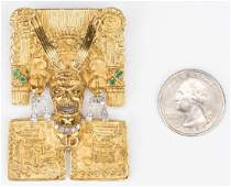 18K Jeweled Aztec Pin/Enhancer, 49.8 grams