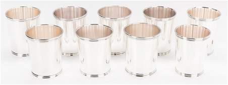 9 Sterling Julep Cups inc. Scearce JFK