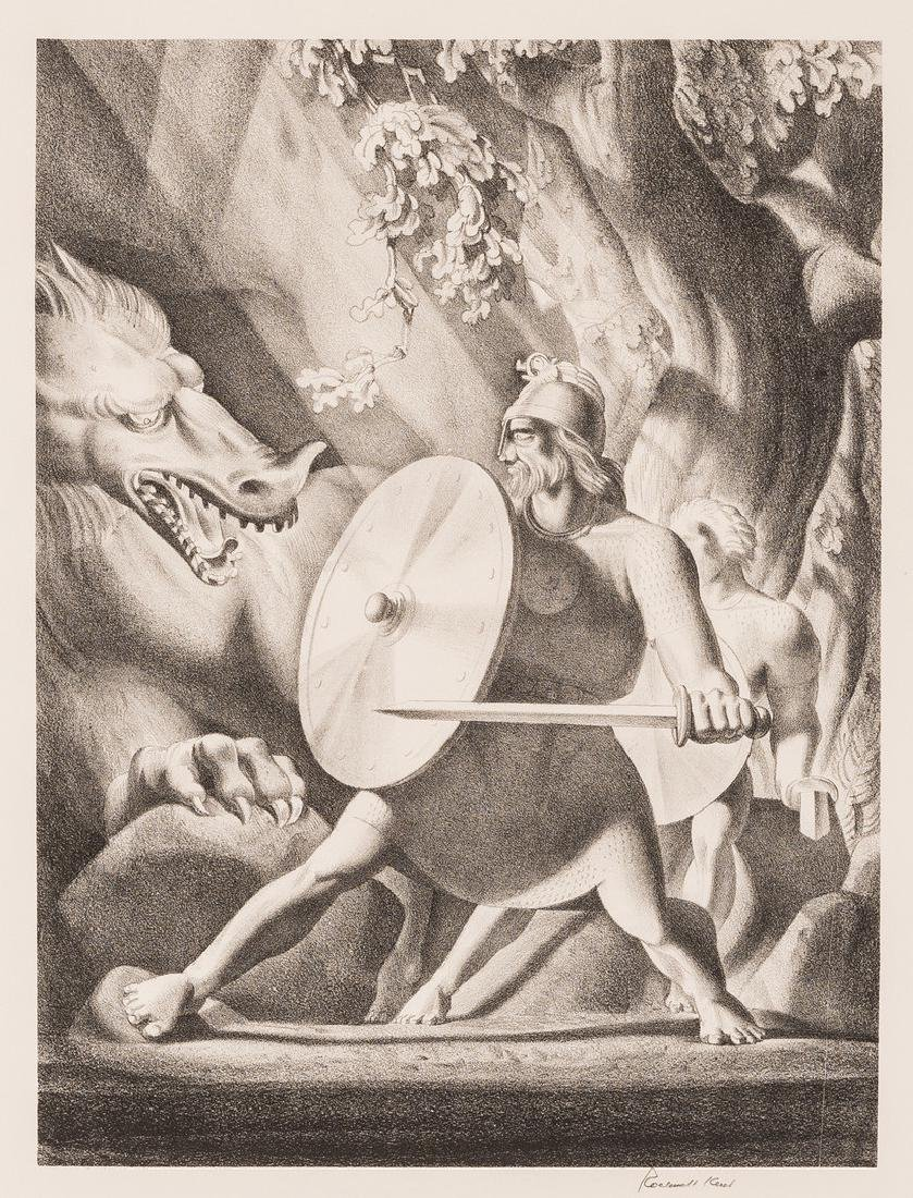 Rockwell Kent Lithograph, Beowulf
