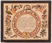 Blousy Angel Artist Fraktur Baptismal Certificate