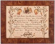 1818 PA School Fraktur with Eagle