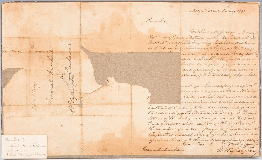 George Washington Signed Letter to John Marshall
