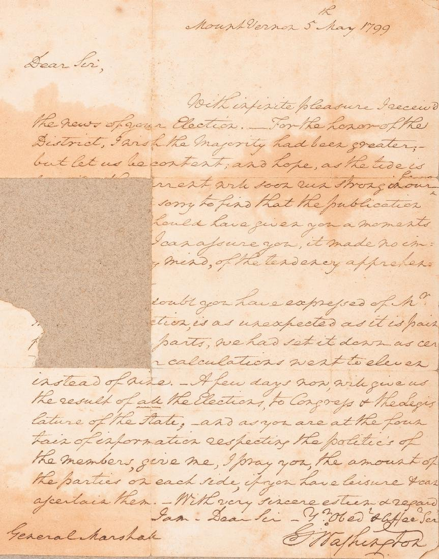 George Washington Signed Letter to John Marshall - 2