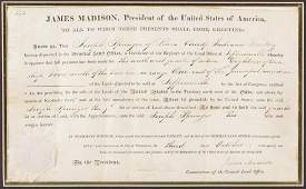 James Madison Signed Land Grant