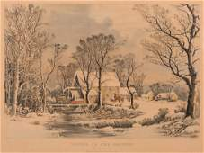 Currier and Ives Winter in the Country Grist Mill