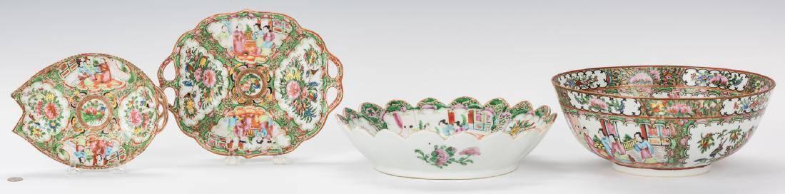 4 Pcs Chinese Rose Medallion Porcelain