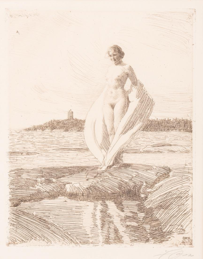 """Anders Zorn Etching, """"The Swan"""""""