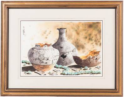 Bernard Vetter Watercolor Indian Pottery Turquoise