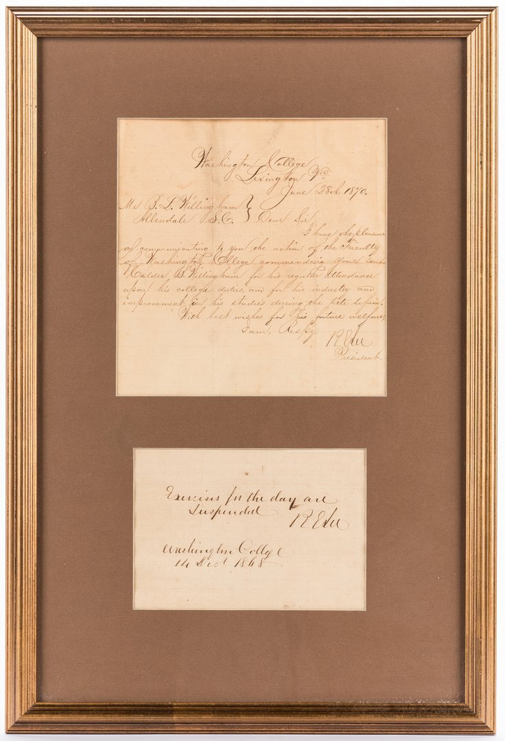 2 Robert E. Lee signed documents as Pres. of Washington