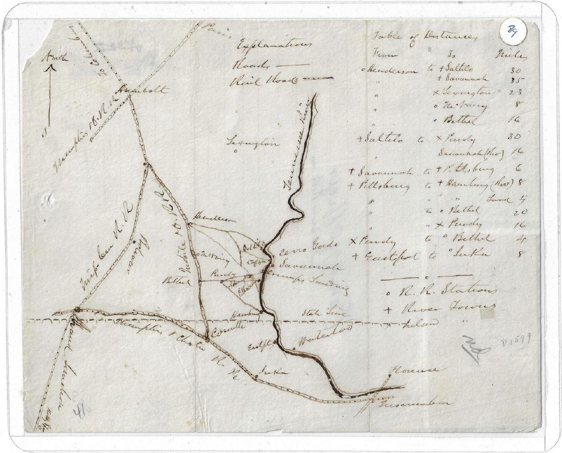 Civil War Manuscript Map West TN Railroads