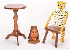 Pugh Tiger Chair & Indian Carving + Folk Art Table, 3