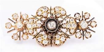 Victorian Gold Diamond Snowflake Pin