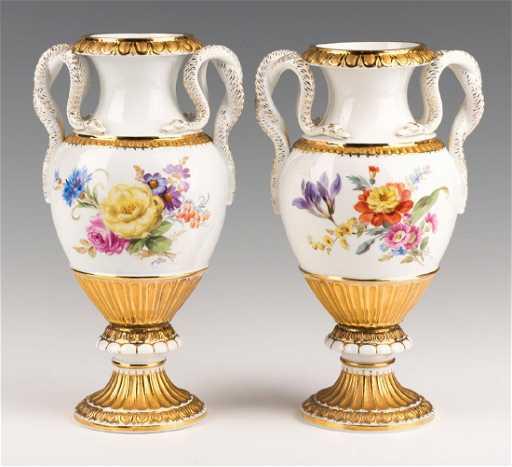 Pr Meissen Vases W Snake Handles