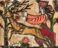 Andrzej Galek folk art painting, Man with Reindeer