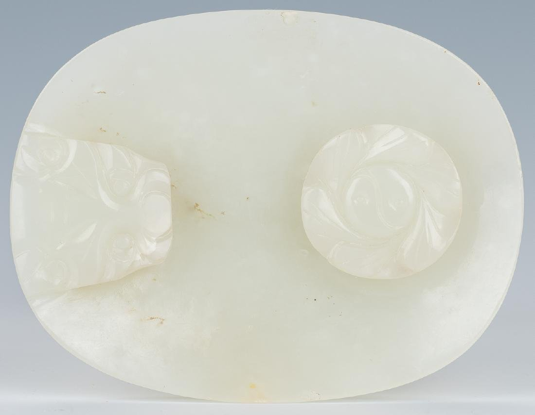 Carved Oval Chinese White Jade Buckle - 3