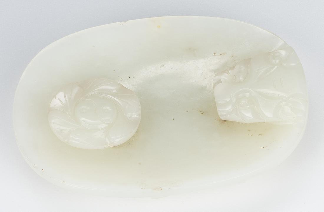 Carved Oval Chinese White Jade Buckle - 7
