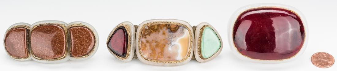 3 Chinese Jade, Stone & Gilt Bronze Buckles - 16