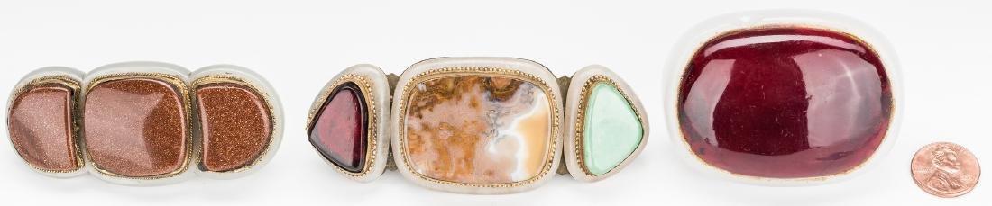 3 Chinese Jade, Stone & Gilt Bronze Buckles