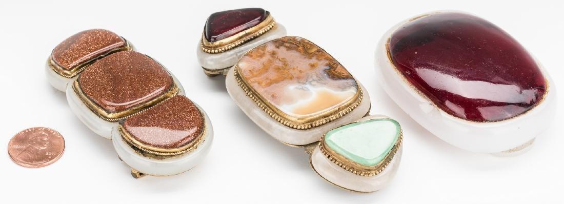 3 Chinese Jade, Stone & Gilt Bronze Buckles - 3
