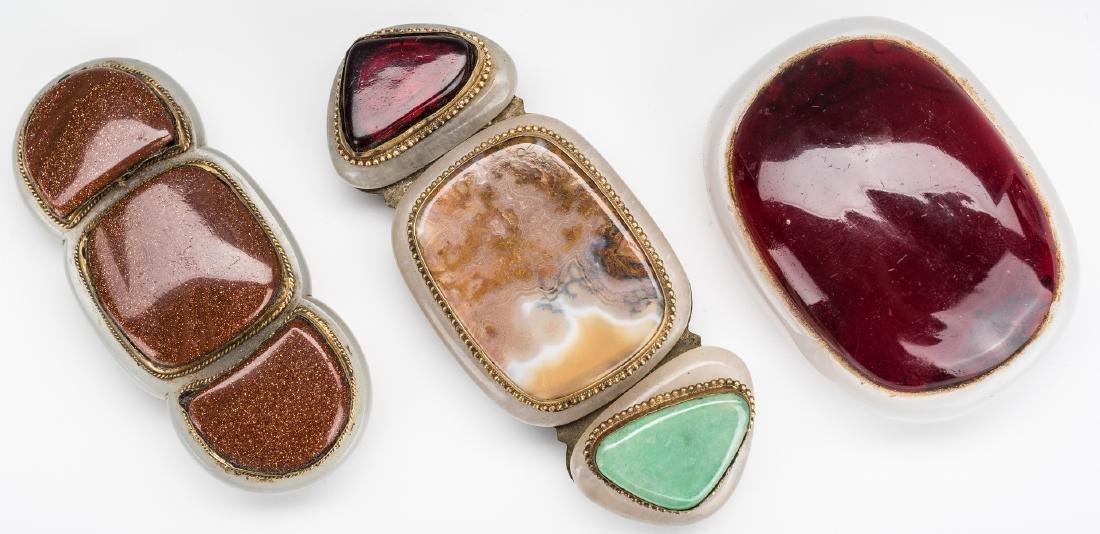 3 Chinese Jade, Stone & Gilt Bronze Buckles - 4