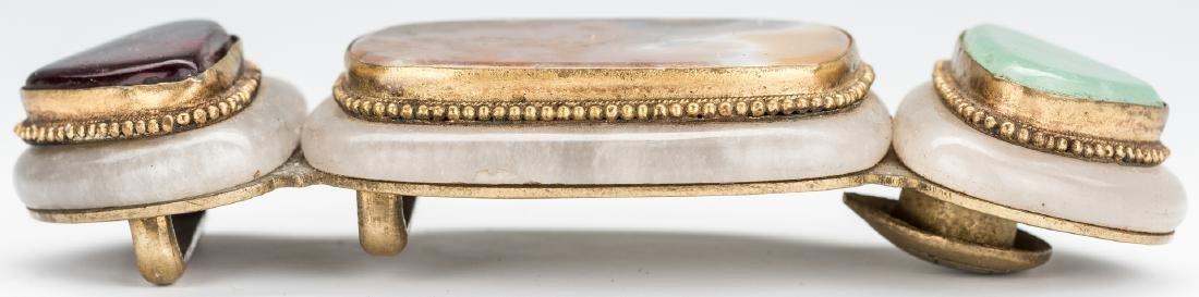 3 Chinese Jade, Stone & Gilt Bronze Buckles - 8