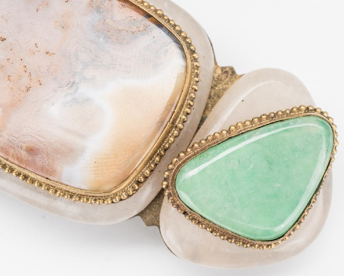 3 Chinese Jade, Stone & Gilt Bronze Buckles - 9