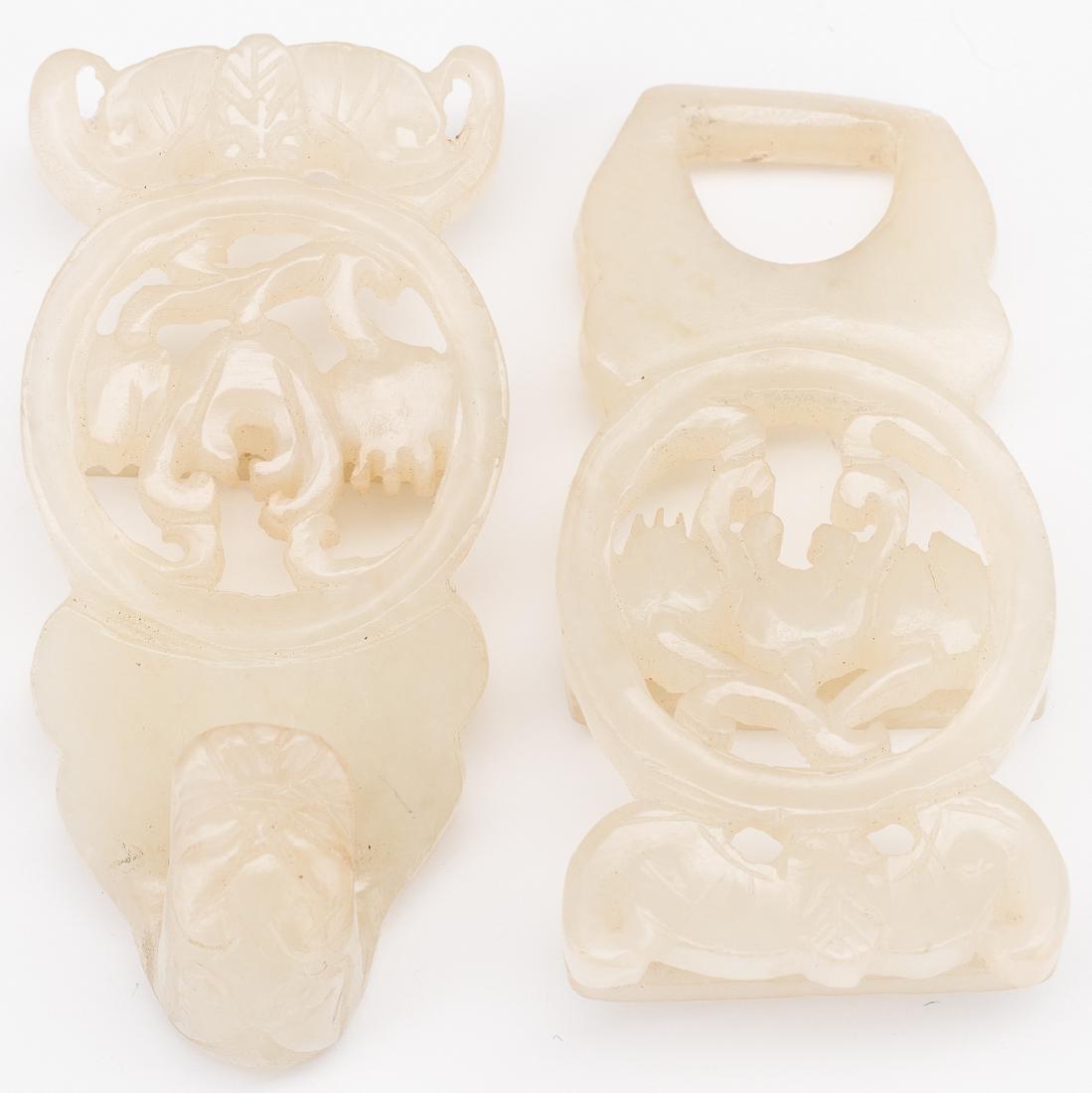 2 Chinese Celadon Jade Buckles - 10