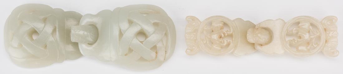 2 Chinese Celadon Jade Buckles