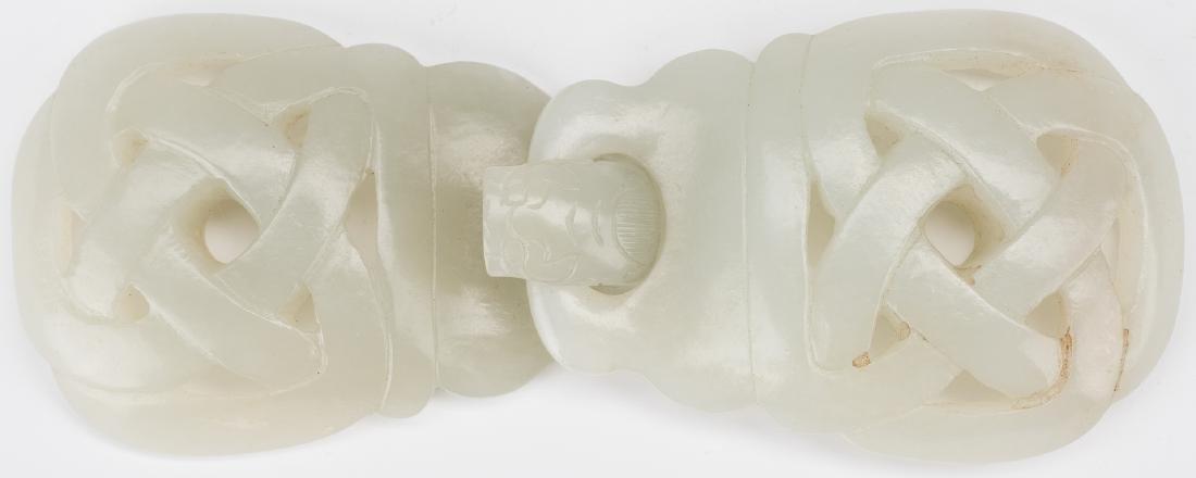 2 Chinese Celadon Jade Buckles - 3