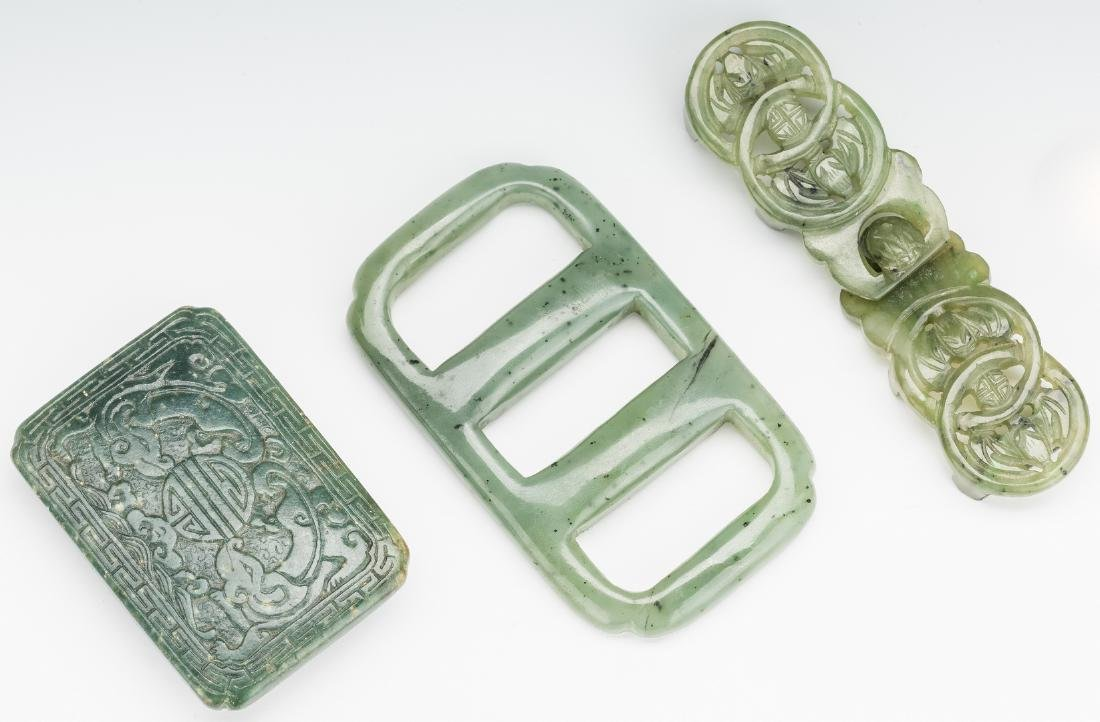 3 Chinese Spinach Jade Belt Buckles & Chinese Round - 4