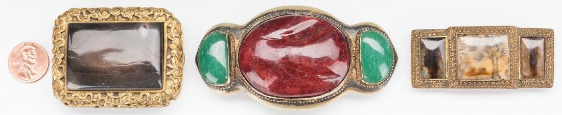 3 Chinese Stone & Gilt Bronze Belt Buckles
