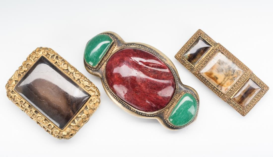 3 Chinese Stone & Gilt Bronze Belt Buckles - 2