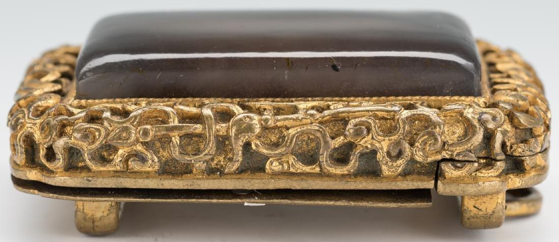 3 Chinese Stone & Gilt Bronze Belt Buckles - 4