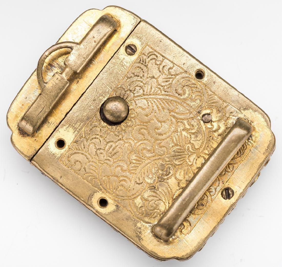 3 Chinese Stone & Gilt Bronze Belt Buckles - 5