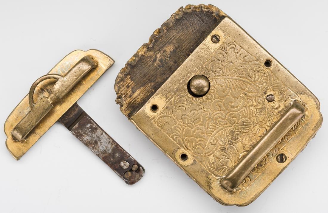 3 Chinese Stone & Gilt Bronze Belt Buckles - 6