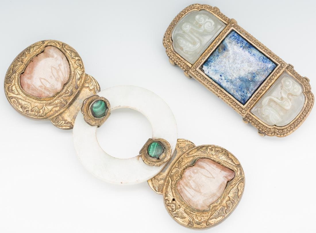 2 Chinese Jade, Stone & Gilt Bronze Belt Buckles