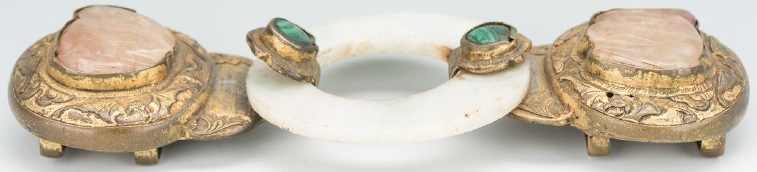 2 Chinese Jade, Stone & Gilt Bronze Belt Buckles - 5